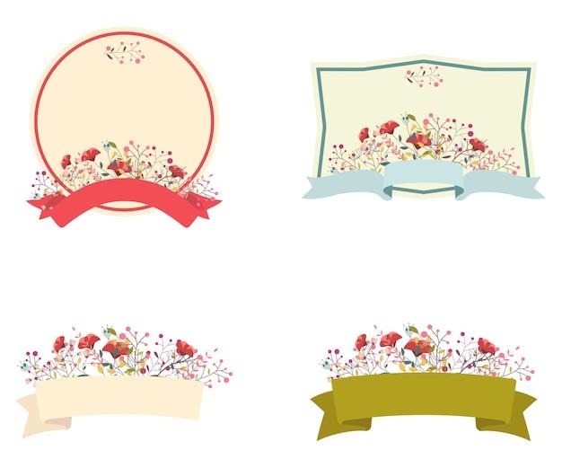 Marco floral retro y conjunto de cinta