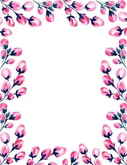 Marco floral rosa acuarela de boda.