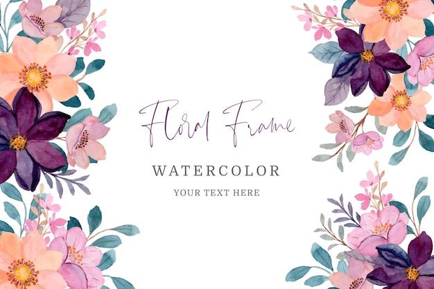 Marco floral rosa y burdeos con acuarela