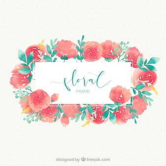 Marco floral con rosas en acuarela