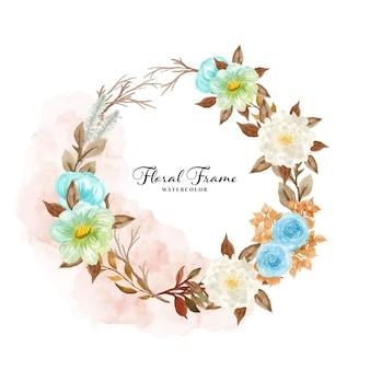 Marco floral rústico acuarela con flores de otoño