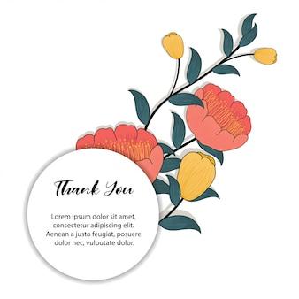 Marco floral para tarjeta de agradecimiento