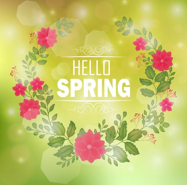 Marco floral con texto hola primavera y fondo bokeh