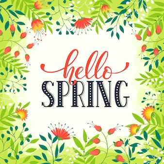 Marco floral con texto hola primavera. plantilla romántica para tarjetas de felicitación