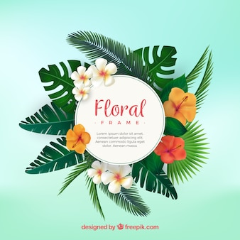 Marco floral tropical con diseño plano