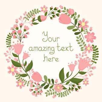 Marco floral de vector con espacio para texto