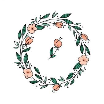 Marco floral de vector con ramas y flores.