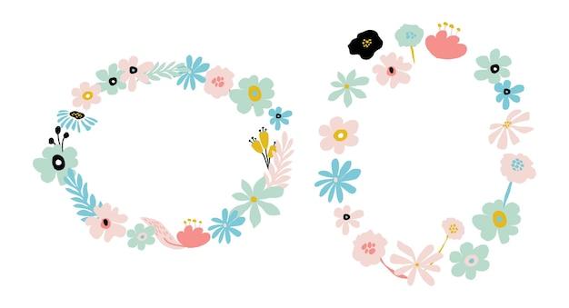 Marco de flores abstractas en colores pastel. guirnalda de diseño floral simple de verano. ilustración de vector isolatd sobre fondo blanco. plantilla de tarjeta de flor de doodle. composición de moda.