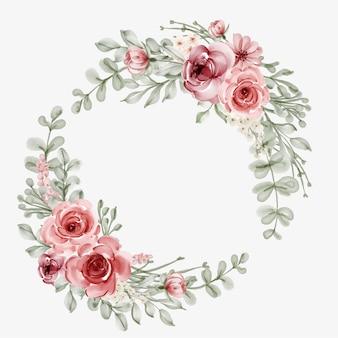 Marco de flores de acuarela con borde circular