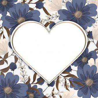 Marco de flores de amor - día de san valentín