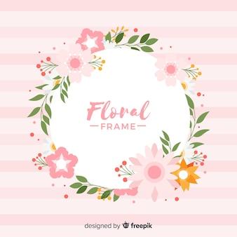 Marco de flores coloridas en diseño plano