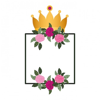 Marco con flores y corona icono aislado