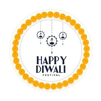 Marco de flores decorativas feliz fondo de festival de diwali