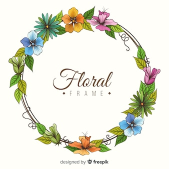 Marco de flores dibujado a mano