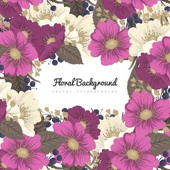 Marco de flores de dibujo - flores de color rosa fuerte