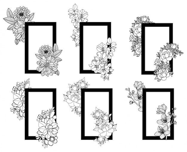 Marco de flores dibujo a mano y boceto en blanco y negro