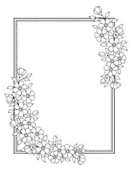 Marco de flores en estilo mehndi