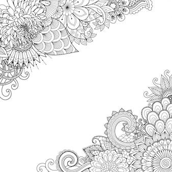 Marco de flores, estilo zentangle, página para colorear