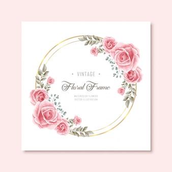 Marco de flores florales acuarela vintage con círculo de oro