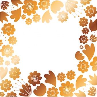 Marco con flores y hojas doradas.