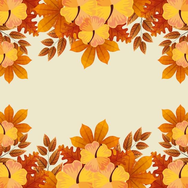 Marco de flores con hojas de otoño