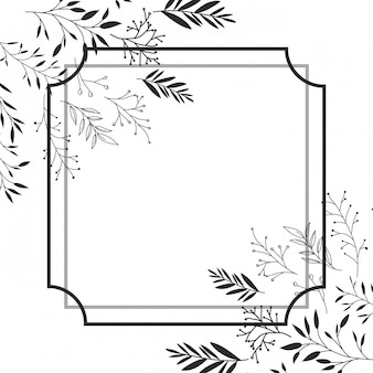 Marco con flores icono aislado