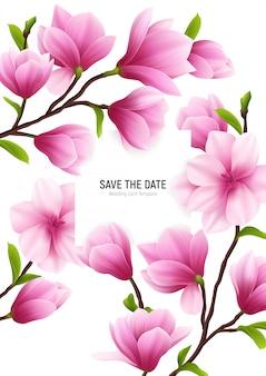 Marco de flores de magnolia realista coloreado con el título de guardar la fecha y delicadas flores rosadas