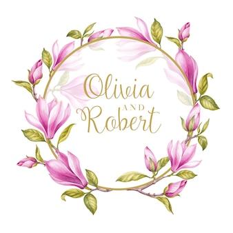 Marco de flores de magnolia rosa