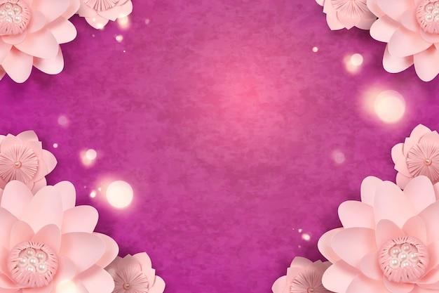 Marco de flores de papel elegante sobre fondo púrpura