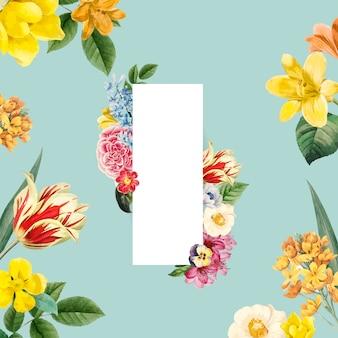 Marco de flores pintado por vector de acuarela