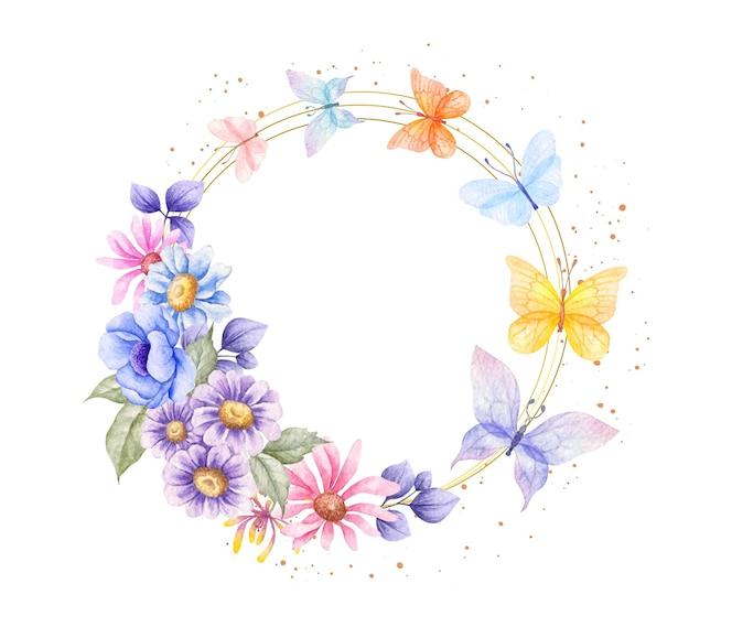 Marco de flores de primavera con mariposas