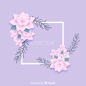 Marco de flores realistas