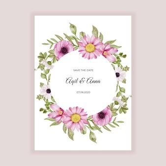 Marco de flores redondo con acuarela de flores de color rosa suave