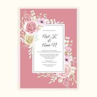 Marco de flores románticas para invitación de boda