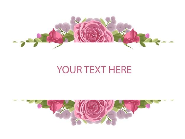 Marco de flores con rosa roja