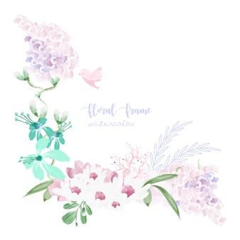 Marco de flores vintage en estilo acuarela.