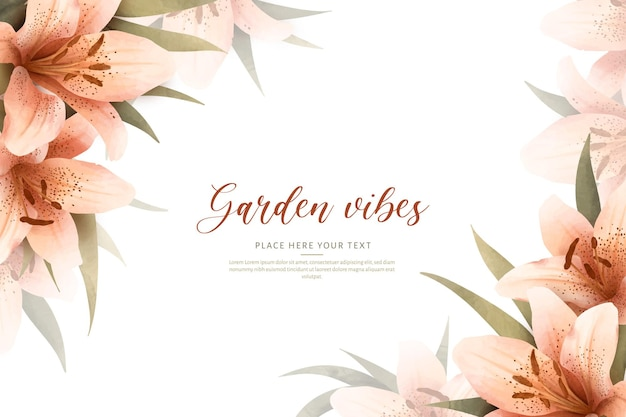 Marco de fondo acuarela floral con lirios detallados
