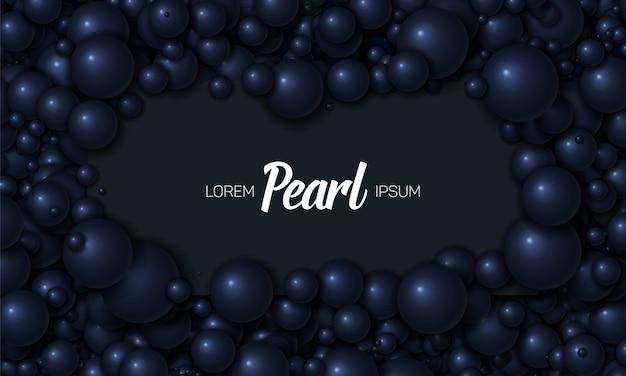 Marco en fondo azul oscuro de perlas o esferas.