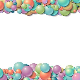 Marco de fondo con bolas de goma brillantes desordenadas dispersas