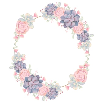 Marco de fondo floral con suculentas.
