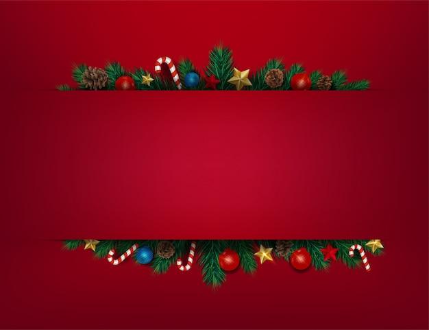 Marco de fondo con ramas de navidad de aspecto realista