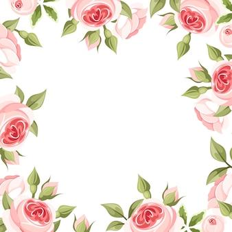 Marco de fondo con rosas rosadas. ilustración.