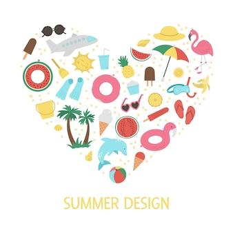 Marco en forma de corazón con elementos de imágenes prediseñadas de verano aislado sobre fondo blanco.