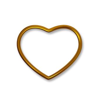 Marco en forma de corazón realista de lujo de oro brillante, marco de borde dorado para decoración.