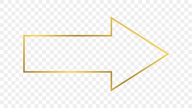 Marco de forma de flecha de oro brillante aislado sobre fondo transparente. marco brillante con efectos brillantes. ilustración vectorial.