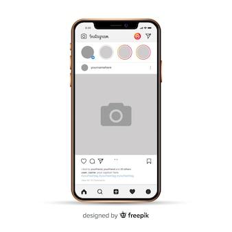 Marco de foto de instagram realista en iphone