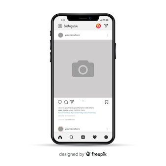 Marco de foto de instagram realista en smartphone