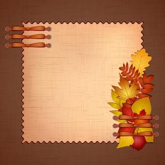 Marco para una foto o invitaciones con hojas de otoño.