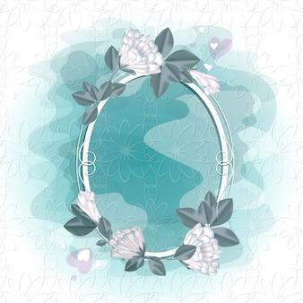 Marco para una foto o texto con flores blancas.