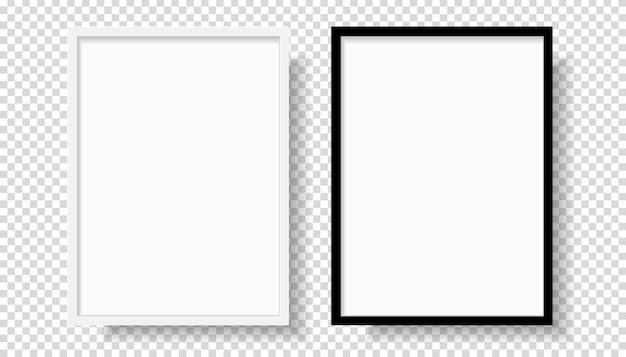 Marco de foto realista en blanco y negro en blanco, colgado en una pared desde el frente. maqueta aislada sobre fondo transparente. plantilla de estilo gráfico. ilustración vectorial